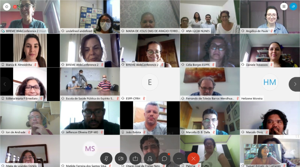 Figure 1. Register of the first meeting on August 14, 2020, with 67 connections from representatives of all Schools participating in the Project - ES, MA, TO, MT, MG, SC, RS, SE, PE, PB, MS, BA, RN, PR e PI.